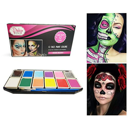 Face Paint Kit for Kids and Adults - 12 Colors XL Set with 2 Glitter Colors - 2 Brushes and 6 Stencils Included, Safe Water-Based Non-Toxic by Pinky Petals