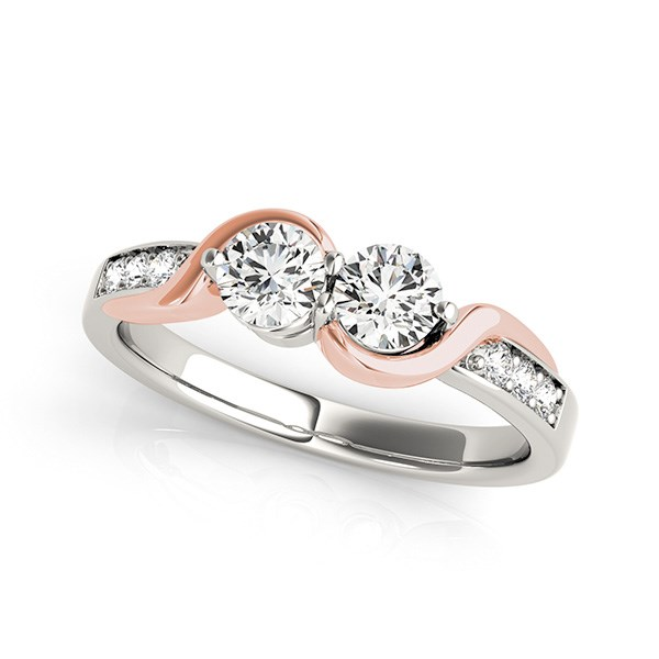 14K White And Rose Gold Round Two Diamond Curved Band Ring (5/8 ct. tw.) Size - 5