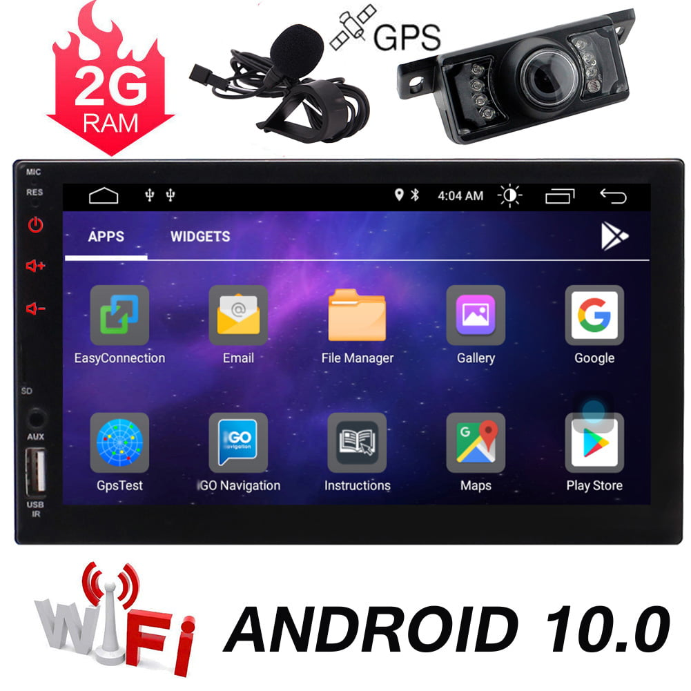 Double Din Android 10 0 Car Stereo 7 Inch Touch Screen Car Radio With Bluetooth Gps Navigation 2din Radio Receiver Android Head Unit Backup Camera Support Wifi Mirror Link Swc Dvr Usb Sd Walmart Com Walmart Com