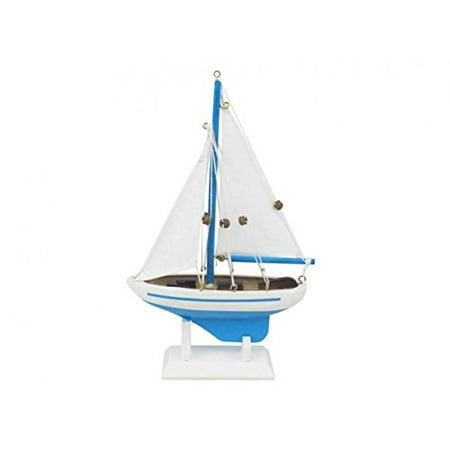 Wooden Light Blue Pacific Sailer Model Sailboat Decoration 9'' - Boat Decorations