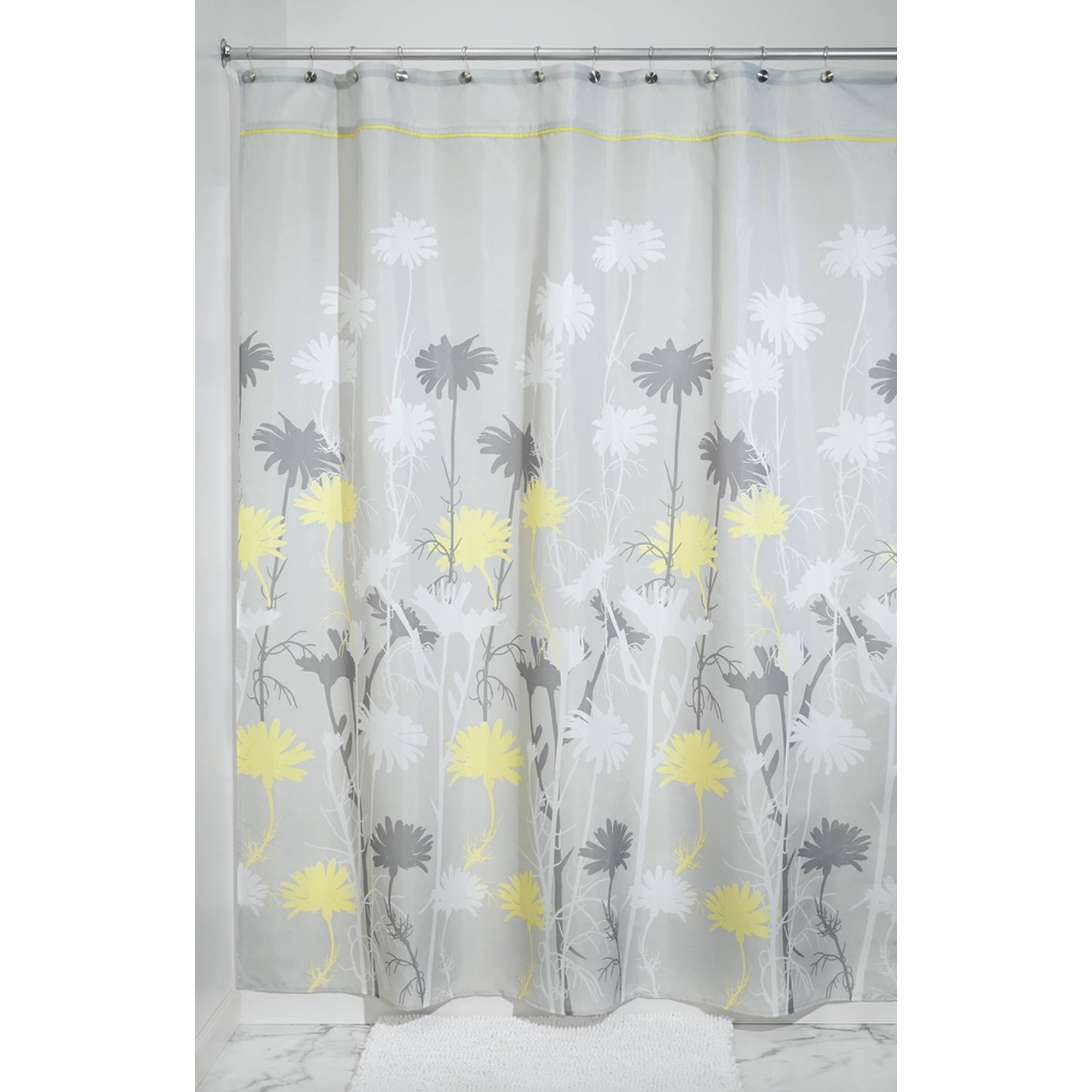 "InterDesign Daizy Fabric Shower Curtain, Stall 54"" x 78"", Gray/Yellow"