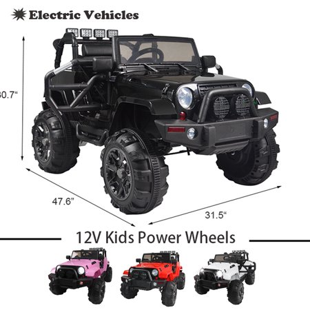 Clearance! 12V Power Wheels, Kids Electric Ride-On Truck, 3 Speeds Remote Control Car with Adjustable Seatbelt & LED Lights for Boys Girls to Ride on Pavement, Grass, Mud, Gravel, and Hills,
