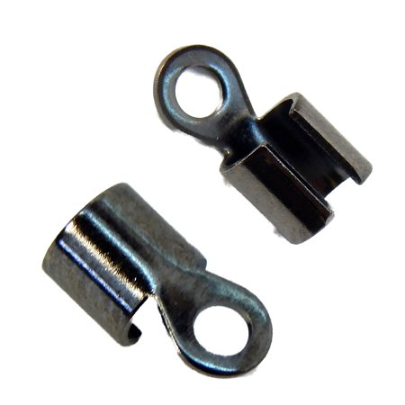 100 Gunmetal Plated Brass Cord Tip Ends 10x5mm 3mm to 5mm Inside - Plated Brass Cord Ends