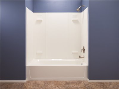 DURAWALL FIBERGLASS BATHTUB WALL KIT, 5 PIECES, 4 SHELVES, WHITE, 32 X