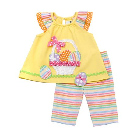 Infant or Girls Easter Outfit : Yellow Easter Basket Capri Set SALE - Girls On Sale