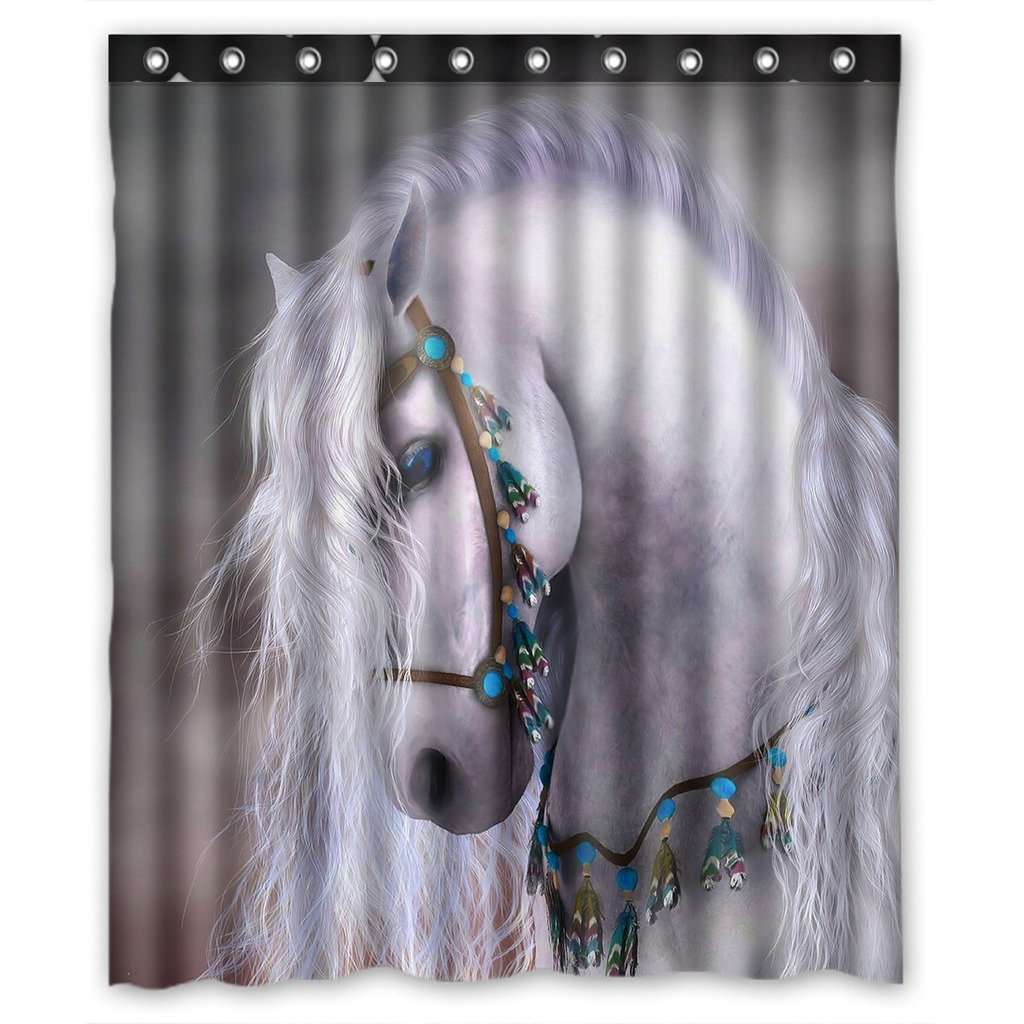 GCKG Artistic White Horse Waterproof Polyester Shower Curtain Bathroom Decor 66x72 inches - image 4 de 4