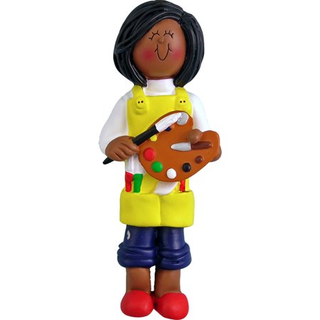 Artist Female African-American Personalized  Christmas Ornament DO-IT-YOURSELF