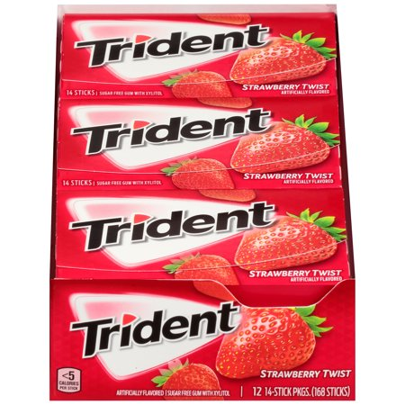Trident, Sugar Free Strawberry Twist Chewing Gum, 14 Pcs, 12 Ct (Sugar Free Strawberry Gum)
