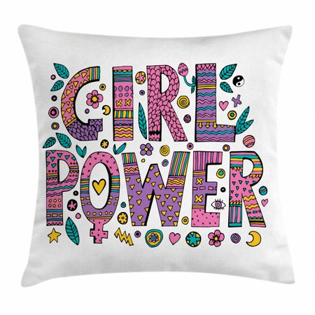 Feminist Throw Pillow Cushion Cover, Hippie Boho Girl Power Lettering with Foliage in Shades of Pink and Purple Colors, Decorative Square Accent Pillow Case, 16 X 16 Inches, Multicolor, by Ambesonne (Hippie Shades)