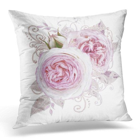 CMFUN Paisley Delicate Silver Leaves Made of Fine Lace and Pearls Jeweled Shiny Curls Thread from Beads Bud Pillow Case Pillow Cover 18x18 inch