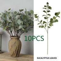 Willstar 5/10pcs Green Artificial Money Leaf Eucalyptus Plant Decoration Fake Flower Faux Foliage Eucalyptus Green Silk Flowers