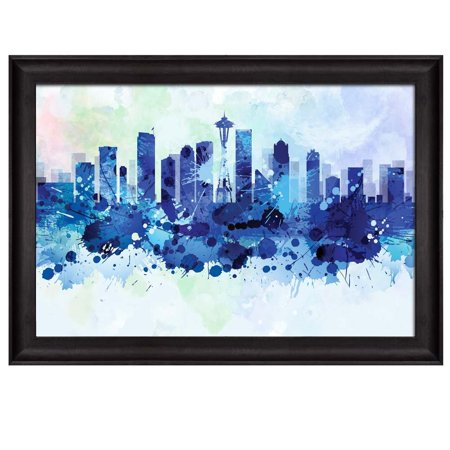 wall26 - Vibrant Blue Splattered Paint on The City of Seattle - Framed Art Prints, Home Decor - 24x36 inches (Paint Splatter Clip Art)