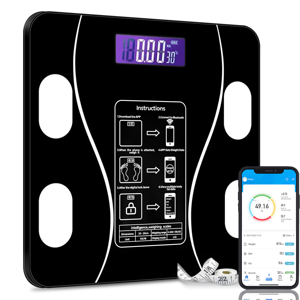 Smart Body Fat BMI Bluetooth Weighing Scales Bathroom Weight Scales Bluetooth