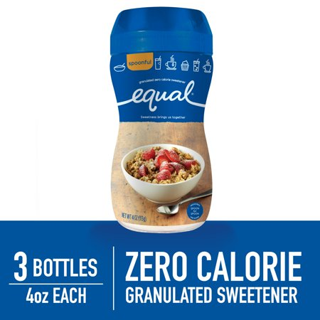 (3 Pack) Equal Sweetener Spoonful Granulated Sweetener Sugar Replacement No Calories and Gluten Free Coffee and Tea Sweetener, 4 oz