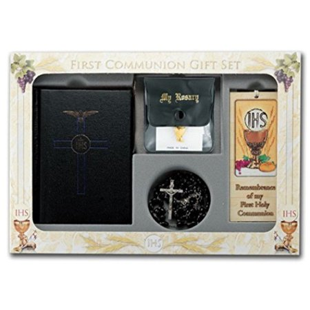 Blessed Trinity 6 Piece Deluxe Remembrance of My First Holy Communion Boxed Gift Set Black Boys