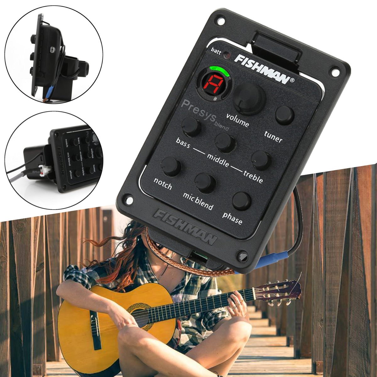 4 Band EQ Guitar Equalizer Acoustic Guitar Tuner Preamp Piezo Pickup For Fishman by