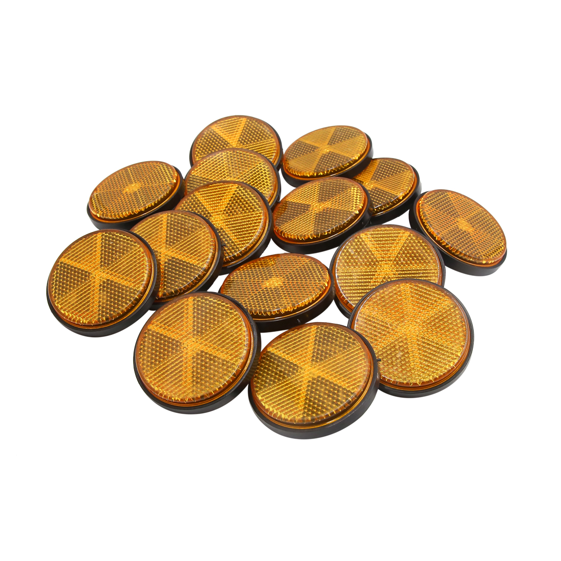 15pcs 59mm Orange Plastic Screw Reflective Warning Reflector for Motorcycle