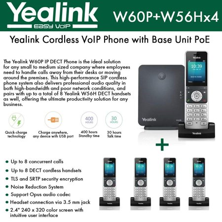 Yealink IP Phone W60P is a bundle of W60B base and W56H handset + (4-UNITS) W56H