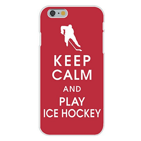 Apple iPhone 6+ (Plus) Custom Case White Plastic Snap On - Keep Calm and Play Ice Hockey on Red