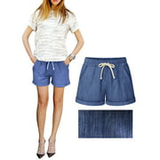 Womens Summer Elastic Waist Drawstring Casual Beach Holiday Party Shorts Hot Pants M-6XL Please Choose One Bigger Size