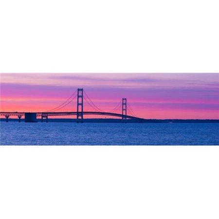 Panoramic Images PPI126198L Silhouette of A Suspension Bridge At Sunset Mackinac Bridge Michigan USA Poster Print, 36 x 12 - image 1 of 1