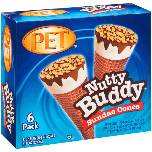 PET Nutty Buddy Sundae Cones, 3.5 fl oz, 6 count