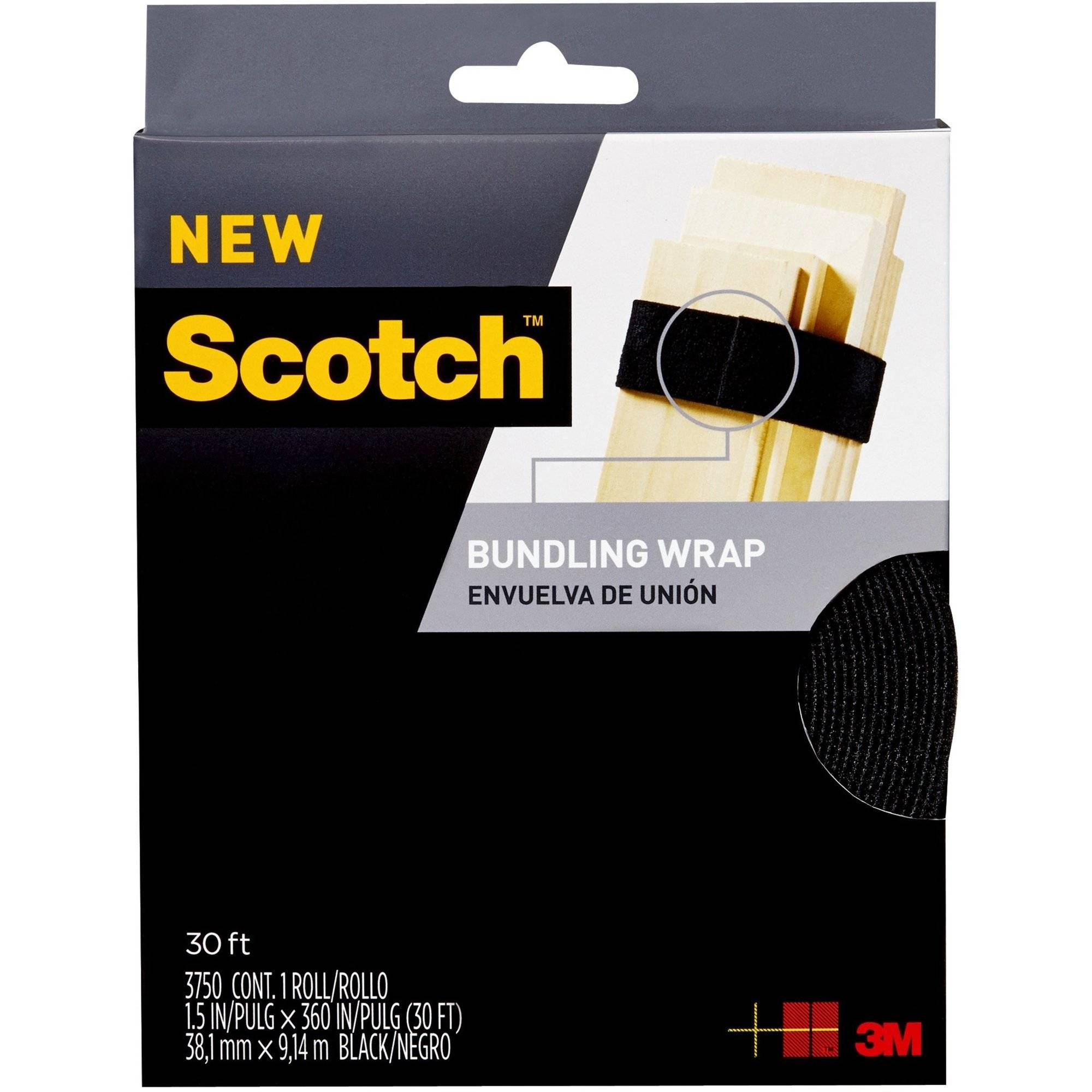 Scotch Bundling Wrap, 1.5 in. x 30 ft., Black, 1 Wrap/Pack