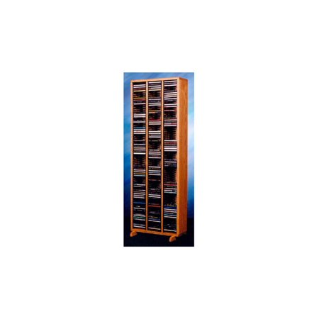 18.75 in. CD Storage Tower w Individual Locking Slots (Honey Oak)