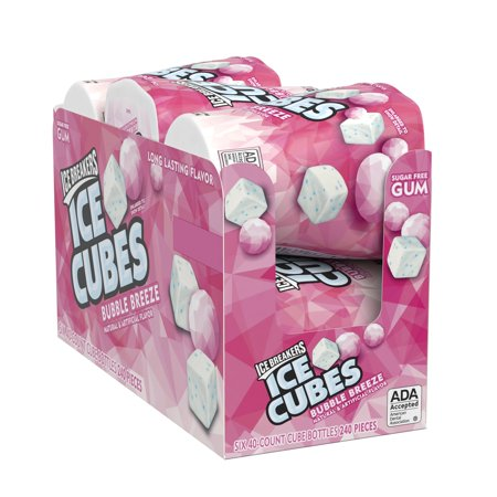 Ice Breakers, Ice Cubes, Sugar Free Bubble Breeze Chewing Gum, 3.24 Oz, 6 Ct