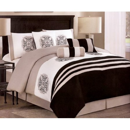 7 Pieces Embroidery Medallion Comforter Set Bed In A Bag