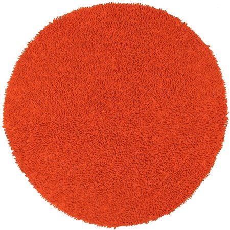 St. Croix Trading Hand-woven Shagadelic Orange Chenille Rug (3' Round) - 3' x (Spot Chenille Rug)