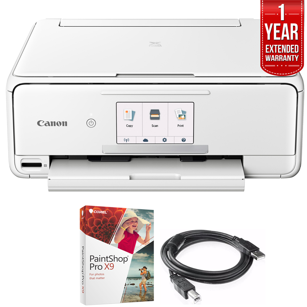 Canon PIXMA TS8120 Wireless Inkjet All-in-One Printer with Scanner & Copier White (2230C022) Corel Paint Shop Pro X9 Digital Download, High Speed 6-foot USB Printer Cable & 1 Year Extended Warranty
