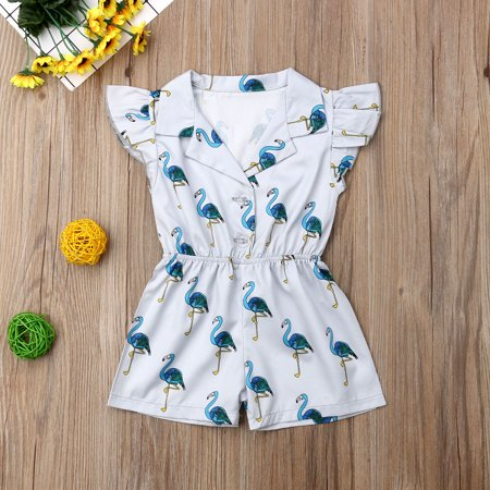 Toddler Baby Girl Flutter Sleeve Flamingo Print Romper Jumpsuit Botton-Down Top Blouse Outfit](Baby Flamingos)