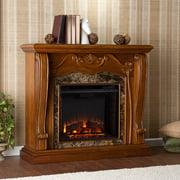Corina Electric Fireplace w/ Faux Marble, Walnut