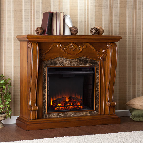 Corina Electric Fireplace w/ Faux Marble, Walnut