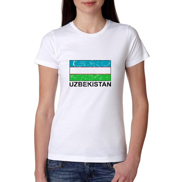 Uzbekistan Flag - Special Vintage Edition Women's Cotton T-Shirt