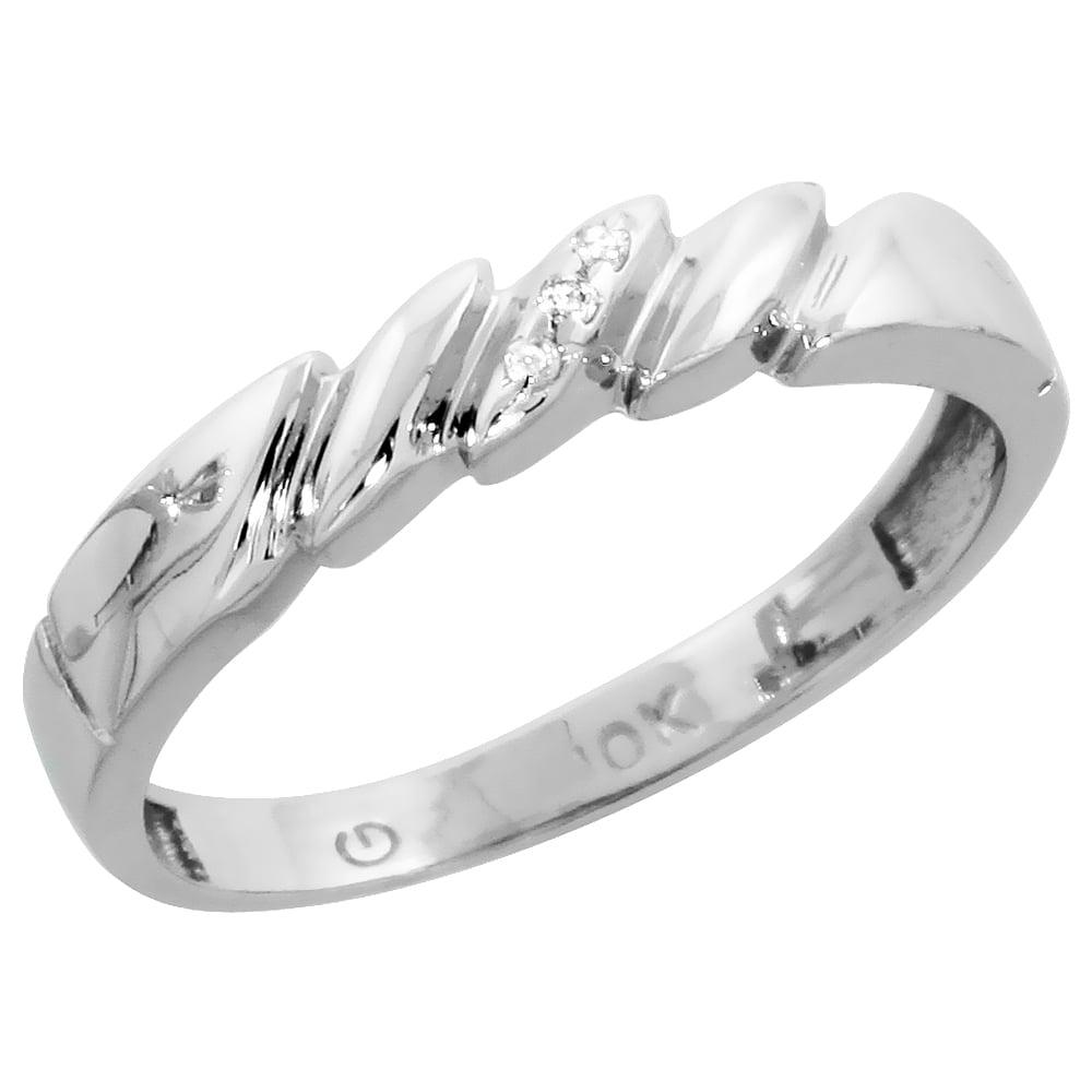 Worldjewels 10k White Gold Ladies Diamond Wedding Band 5 32 Inch
