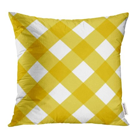 CMFUN Orange Country Plaid Yellow Gingham Abstract Breakfast Check Checkered Classic Color Pillowcase Cushion Cover 16x16 inch](Yellow Gingham)
