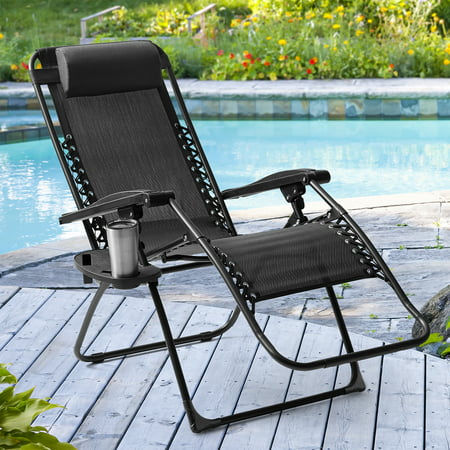 Mainstays Outdoor Zero Gravity Bungee Chair, Black Frame and Sling,250lbs Seat Capacity