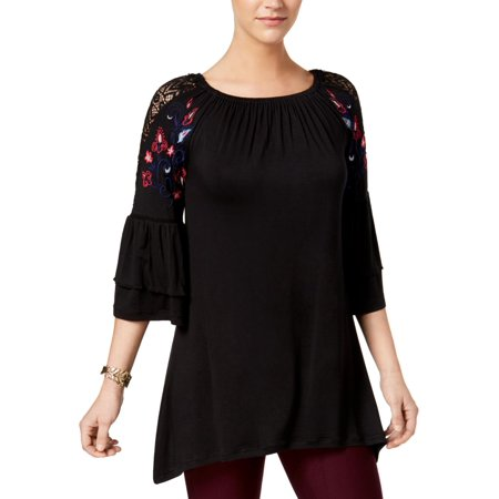 NY Collection Womens Ruffled Bell Sleeves Peasant Top