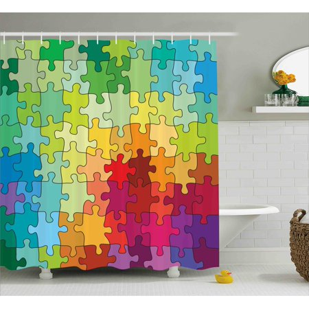 Abstract Shower Curtain Colorful Puzzle Pieces Fractal Children