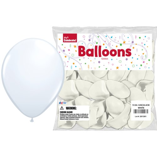 "Way to Celebrate White 12"" Balloons, 72pk"