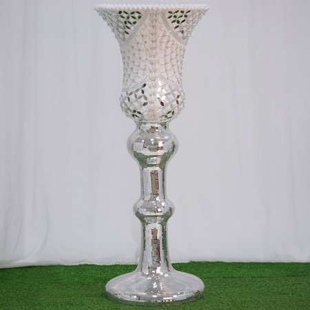 BalsaCircle 48-Inch tall Silver Mosaic Mirror Wedding Column Pedestal Vase with Pearls and Diamonds Party Decorations Centerpieces