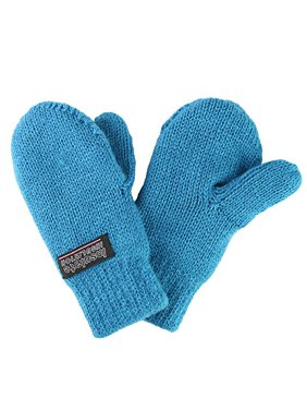Infant baby Toddler Knitted Fleece Lined Mittens (Small (4-12 Months), Teal Blue)