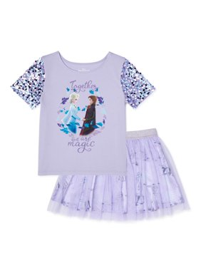 Disney Frozen 2 Girls Exclusive Sequin op and Tutu Skirt, 2-Piece Outfit Set, Sizes 4-16