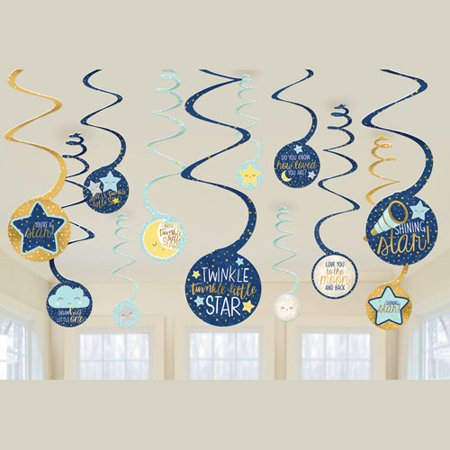 Baby Shower 'Twinkle Twinkle Little Star' Hanging Swirl Decorations (12pc)](Decoraciones Baby Shower)