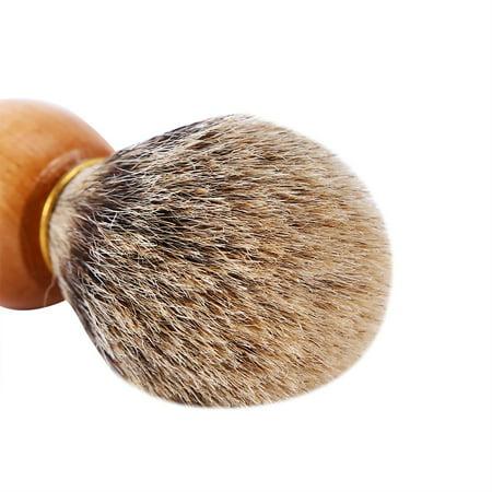 Qiilu 1Pc Men's Professional Wooden Handle Shaving Brush Faux Badger Hair Barber Beauty Tool, Barber Salon Tool,Shaving Brush - image 1 of 8