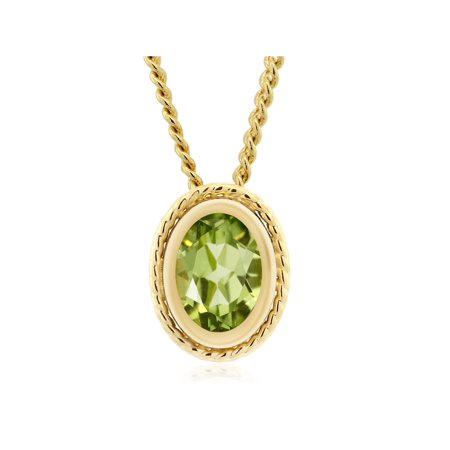 0.70 Ct Oval Cut Peridot Gemstone Birthstone Gold Plated 925 Silver Pendant