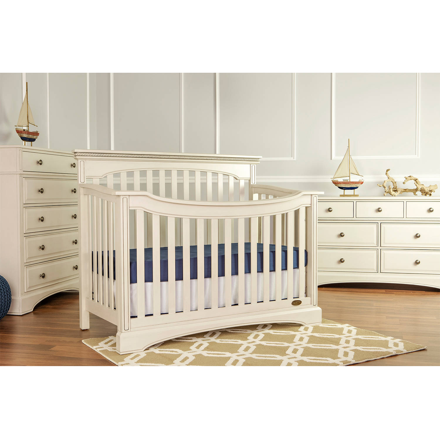 Mia Moda Catalina Flat Top Fixed Side Crib, Antique White