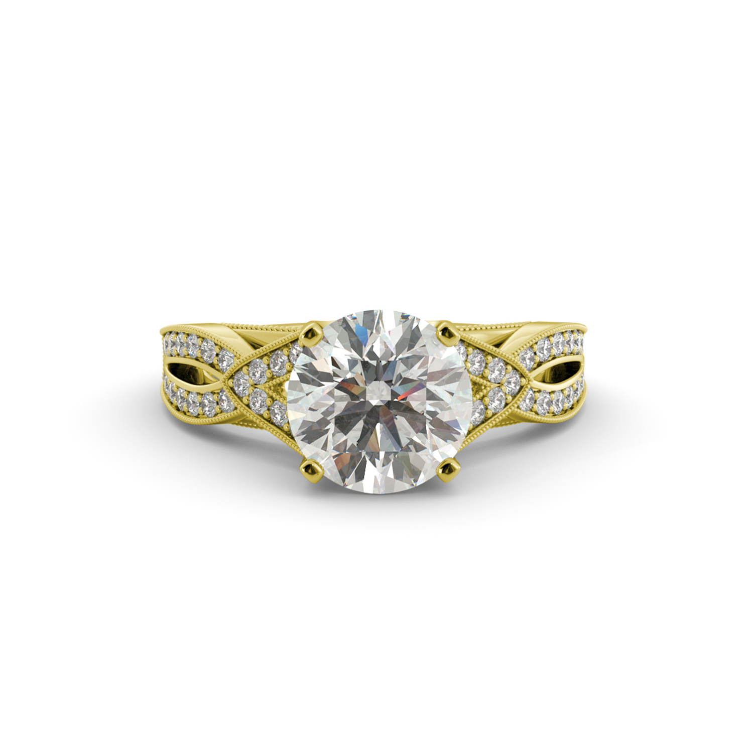 3.20 dwt Round One Moissanite Diamond Cathedral Engagement Ring 14k Yellow Gold by J&H Jewelers